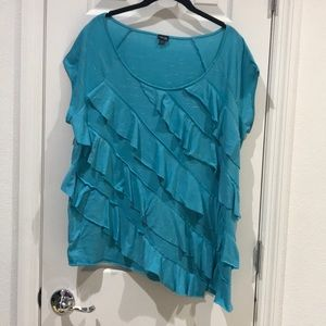 Rafaella Ruffle Sleeveless Asymmetrical Blouse 2X